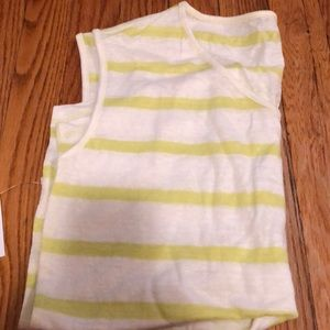 White and yellow striped linen thick strap tank